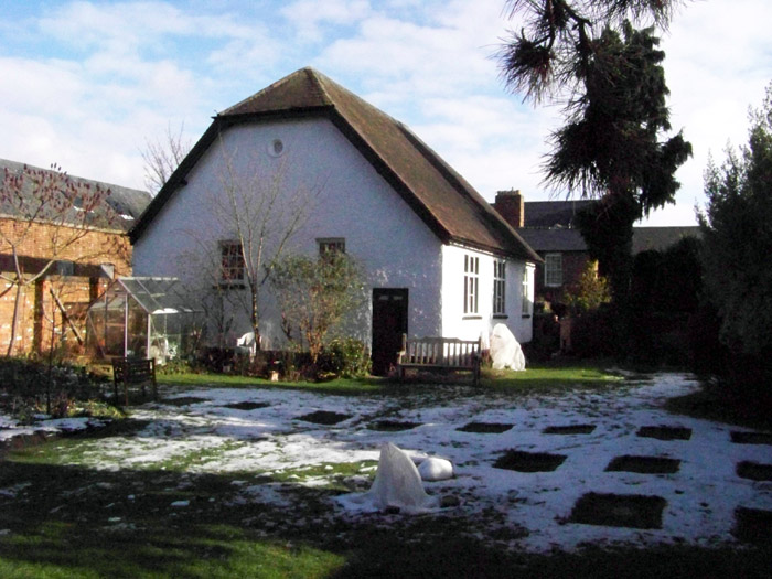 Meeting House With Sun And Snow